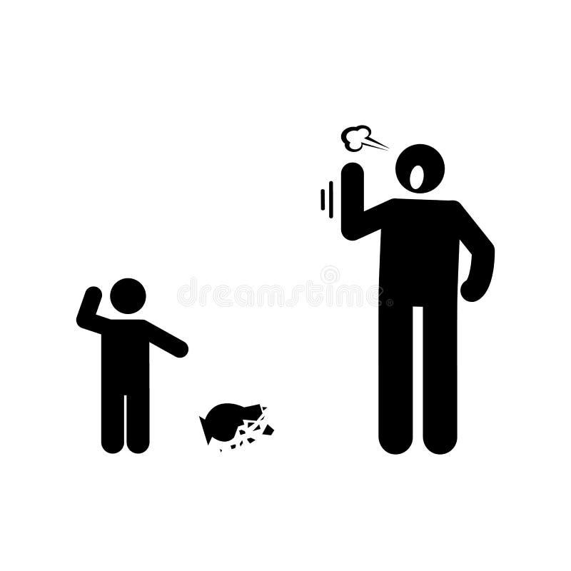 Voorwerp, kind, boos, vaderpictogram Element van ouderpictogram Grafisch het ontwerppictogram van de premiekwaliteit Tekens en sy royalty-vrije illustratie