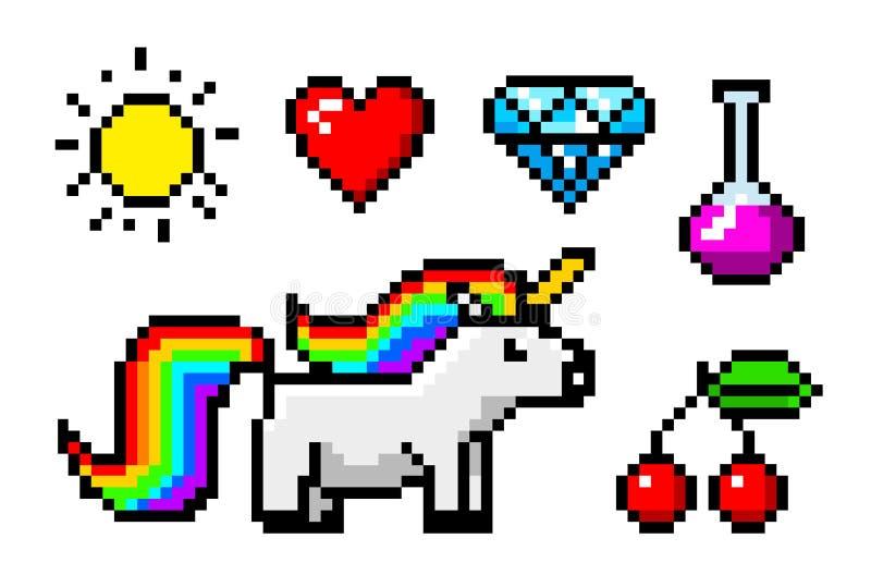 Voorwerpen de met 8 bits van de pixelkunst Karaktereenhoorn en trofee Retro spelactiva Reeks pictogrammen uitstekende computer vi vector illustratie