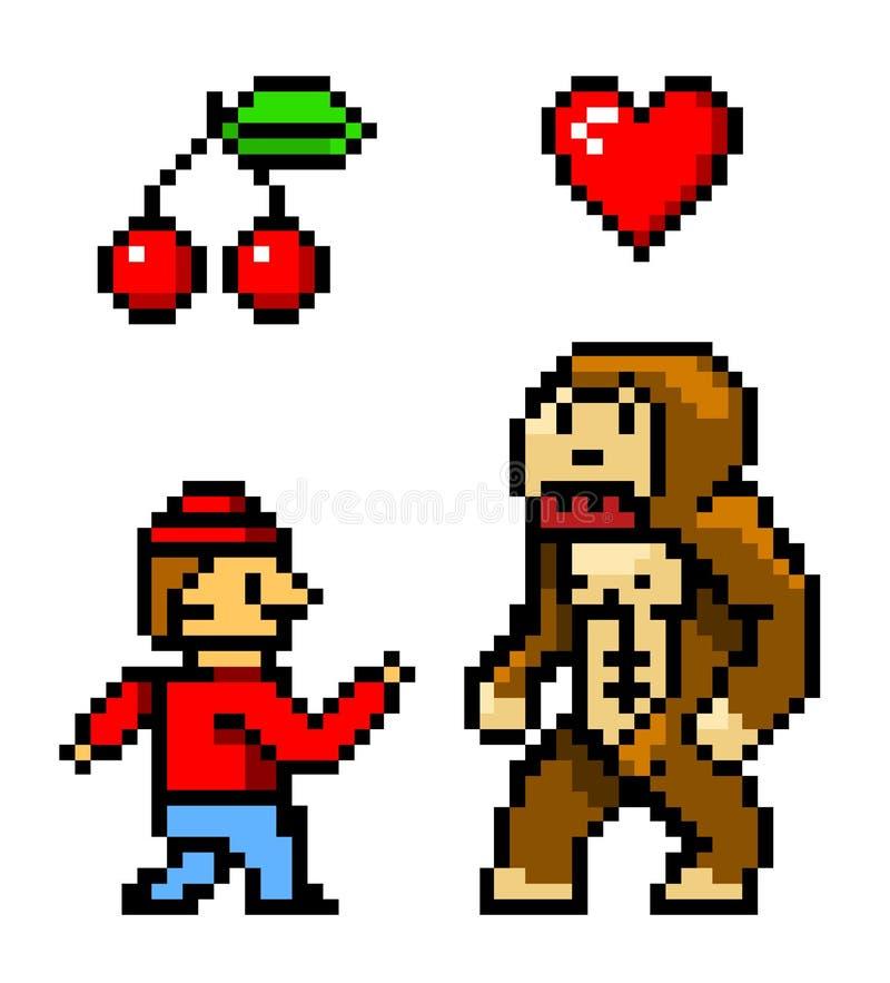 Voorwerpen de met 8 bits van de pixelkunst De Kers en het Hart van de karakteraap Retro spelactiva Reeks pictogrammen uitstekende royalty-vrije illustratie