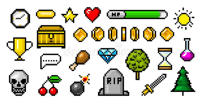 Voorwerpen de met 8 bits van de pixelkunst Retro spelactiva Reeks pictogrammen uitstekende computer videoarcades Muntstukken en d royalty-vrije illustratie