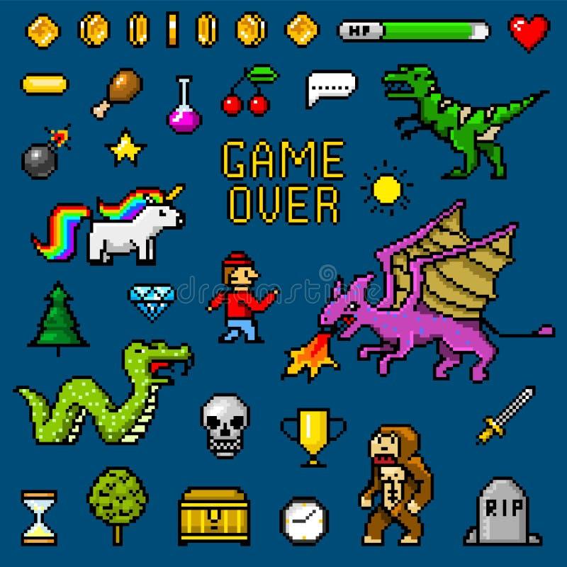 Voorwerpen de met 8 bits van de pixelkunst Retro spelactiva Reeks pictogrammen uitstekende computer videoarcades de poney van de  vector illustratie