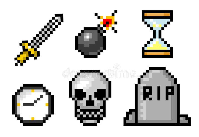 Voorwerpen de met 8 bits van de pixelkunst Schedel en bom, graf en klok Retro spelactiva Reeks pictogrammen uitstekende computerv royalty-vrije illustratie