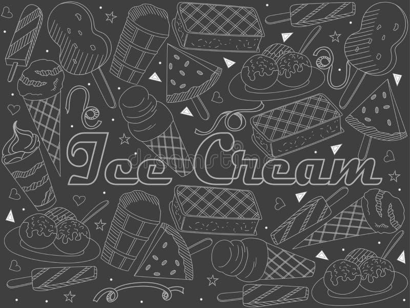 Voorwerpen van lineair kunstkrijtje Thema van openbare catering, de zomervakantie, een reeks van diverse roomijsrooster vector illustratie