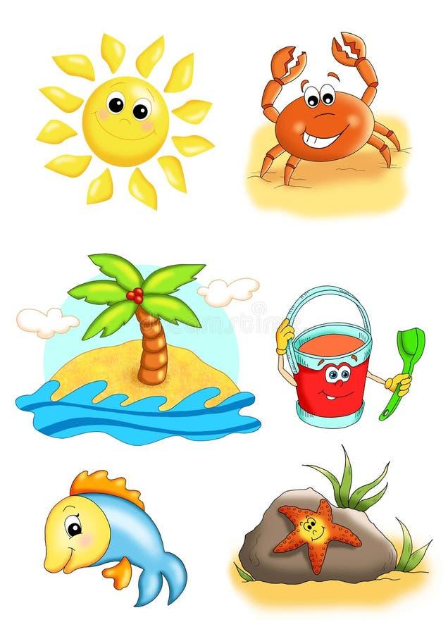 Voorwerpen voor de zomer royalty-vrije illustratie