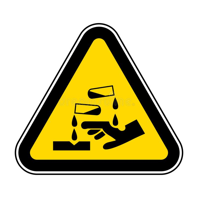 Voorzichtig zijn Corrosief Substantiesymbool isoleren op Witte Achtergrond, Vectorillustratie EPS 10 royalty-vrije illustratie