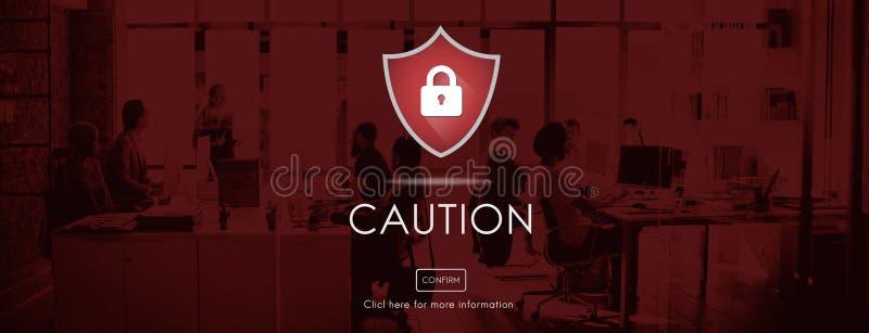 Voorzichtig zijn de veiligheids Waakzame Voorzichtigheid het Concept van het Aandachtsteken royalty-vrije stock afbeeldingen