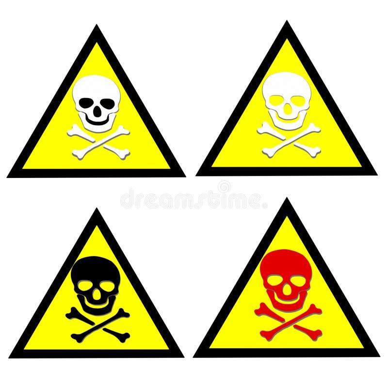 Voorzichtig zijn giftige geplaatste stickers stock illustratie