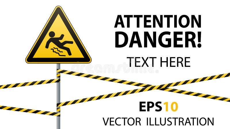 Voorzichtigheid - het gevaar voorzichtig zijn van glad Veiligheidsteken Het driehoekige teken op een metaalpool met waarschuwings stock illustratie