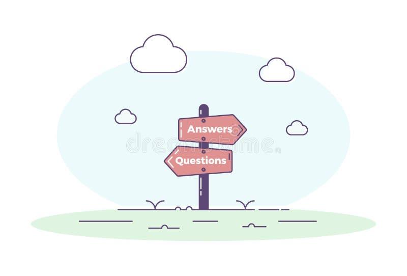 Voorzie het illustreren van vragen en antwoordenconcept van wegwijzers Vectorillustratieontwerp voor QA hulp stock illustratie