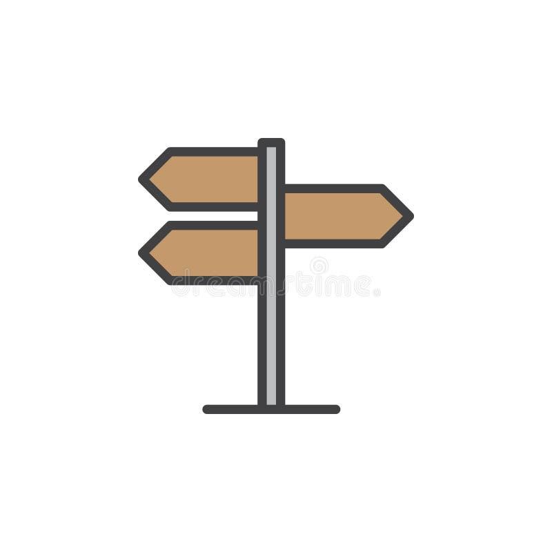 Voorzie, het pictogram van de wijzerlijn, gevuld overzichts vectorteken van wegwijzers, lineair kleurrijk pictogram dat op wit wo vector illustratie