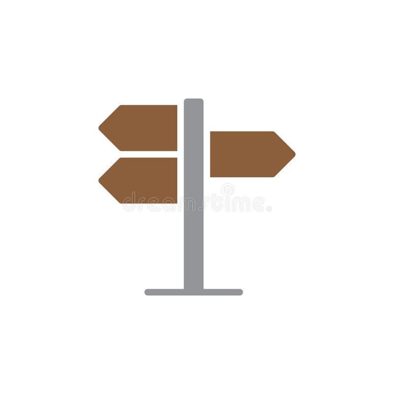 Voorzie, het vector, gevulde vlakke teken van het wijzerpictogram van wegwijzers, stevig kleurrijk die pictogram op wit wordt geï royalty-vrije illustratie