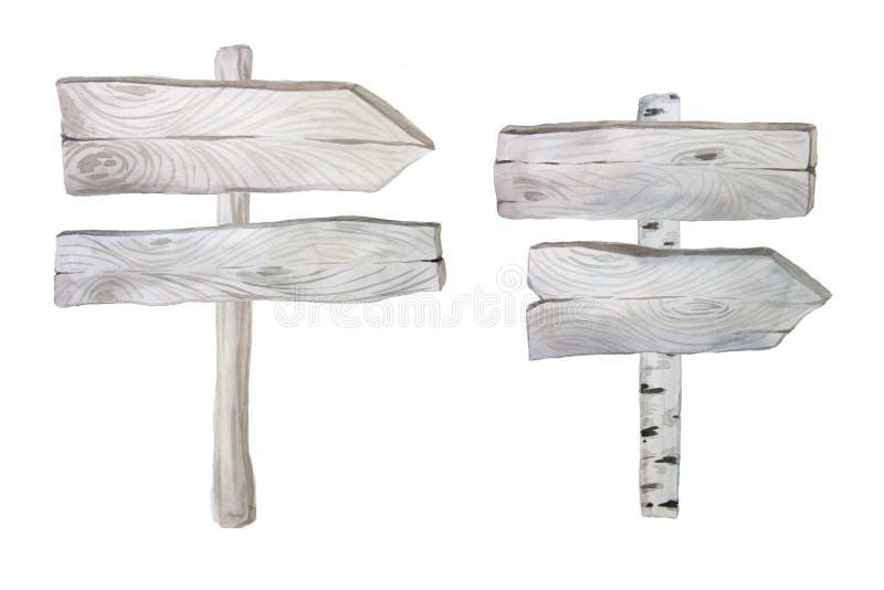 Voorzien de waterverf houten planken en van wegwijzers royalty-vrije illustratie