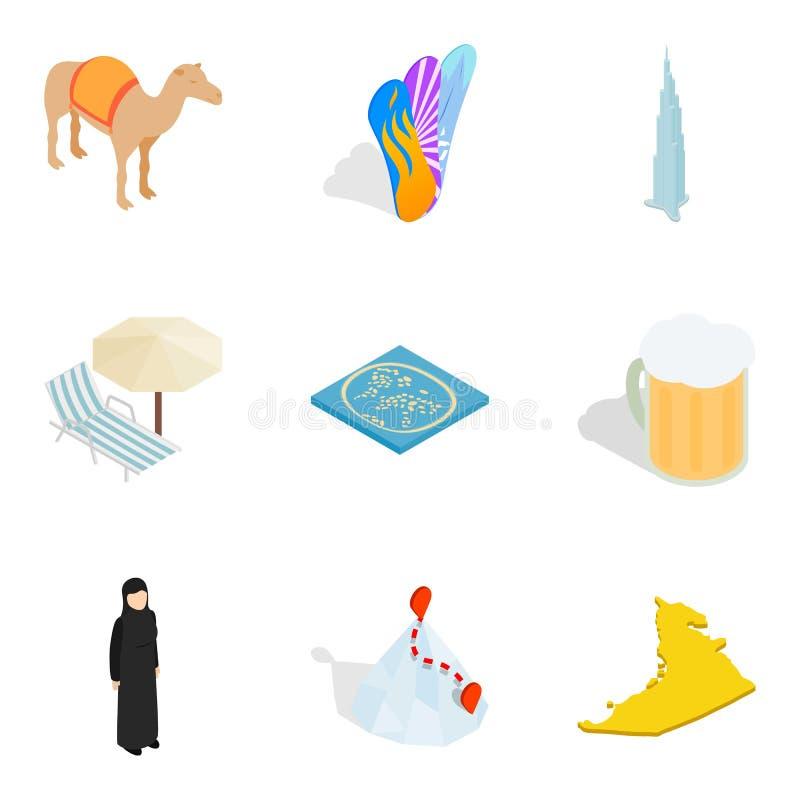 Voorzien geplaatste pictogrammen, isometrische stijl royalty-vrije illustratie