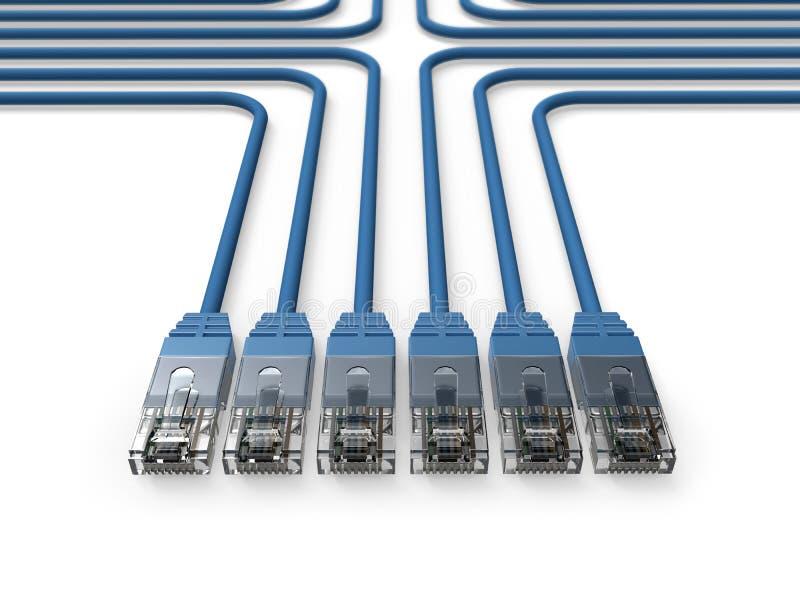 Voorzien van een netwerk, de kabels van het Netwerk, LAN kabels royalty-vrije illustratie
