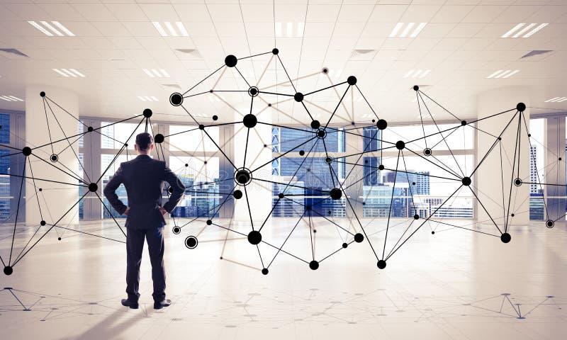 Voorzien van een netwerk en sociaal communicatie concept als efficiënt punt F royalty-vrije stock afbeeldingen