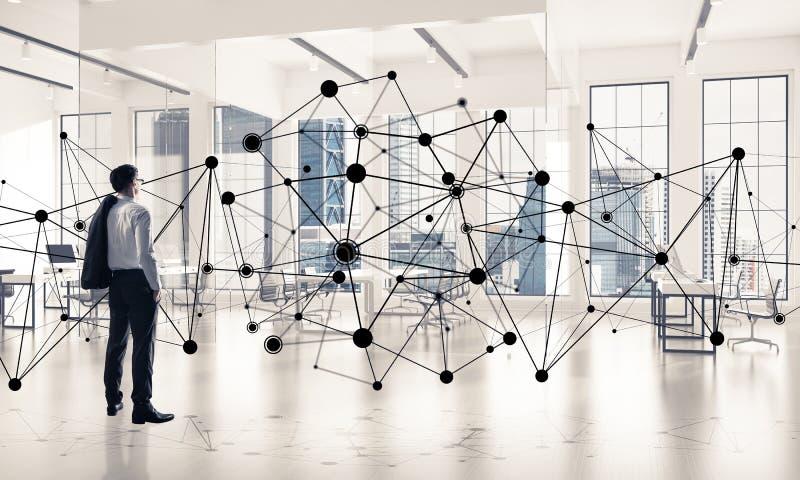 Voorzien van een netwerk en sociaal communicatie concept als efficiënt punt F royalty-vrije stock foto