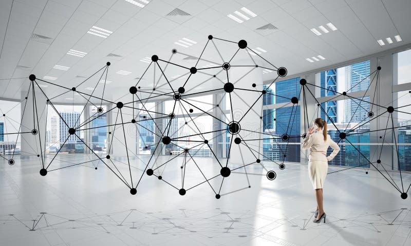 Voorzien van een netwerk en sociaal communicatie concept als efficiënt punt voor moderne zaken stock foto