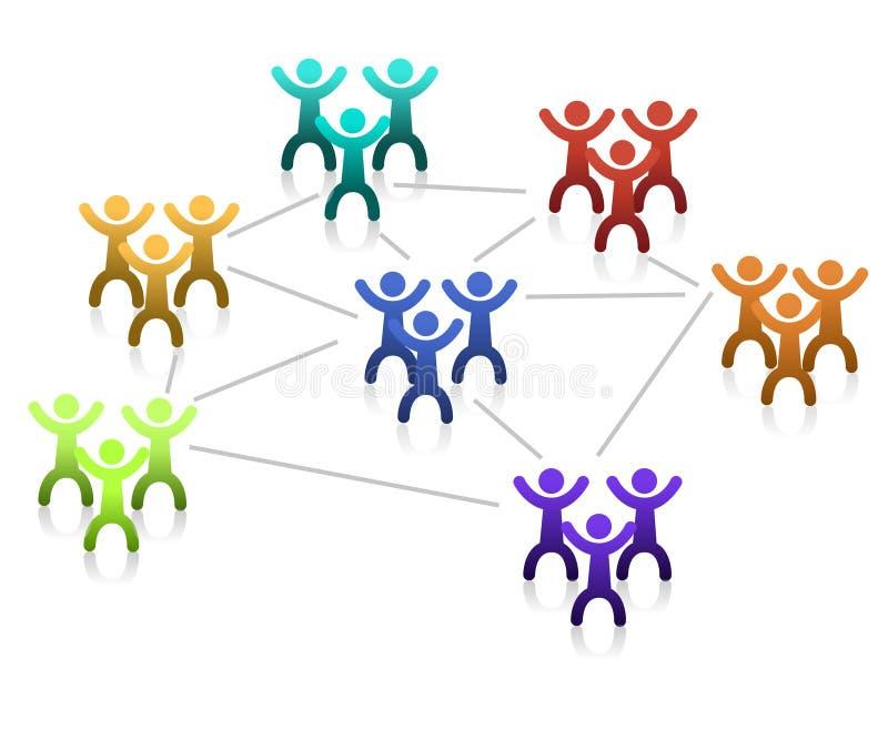 Voorzien van een netwerk/Groepswerk vector illustratie