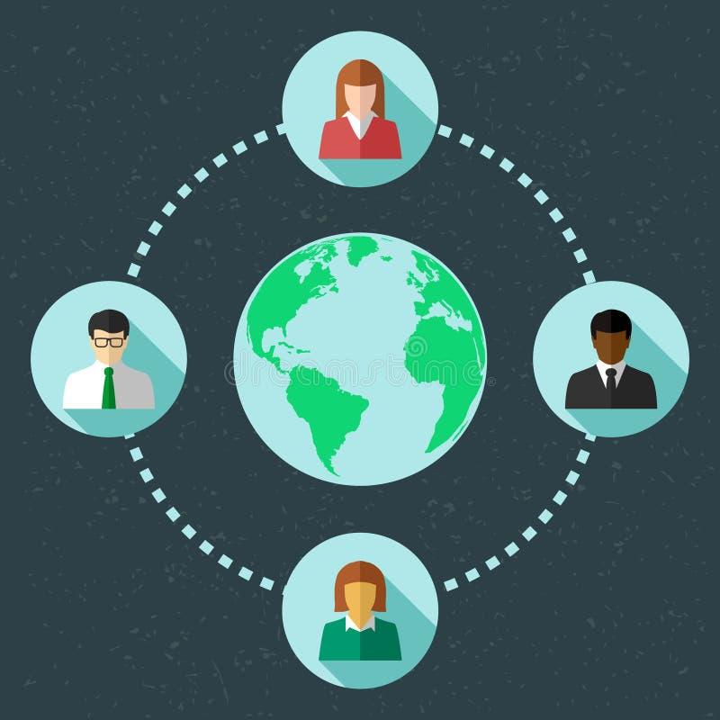 Voorzien van een netwerkconcept met diverse mensen royalty-vrije illustratie