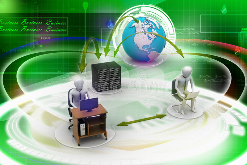 Voorzien van een netwerkmensen met bol stock illustratie