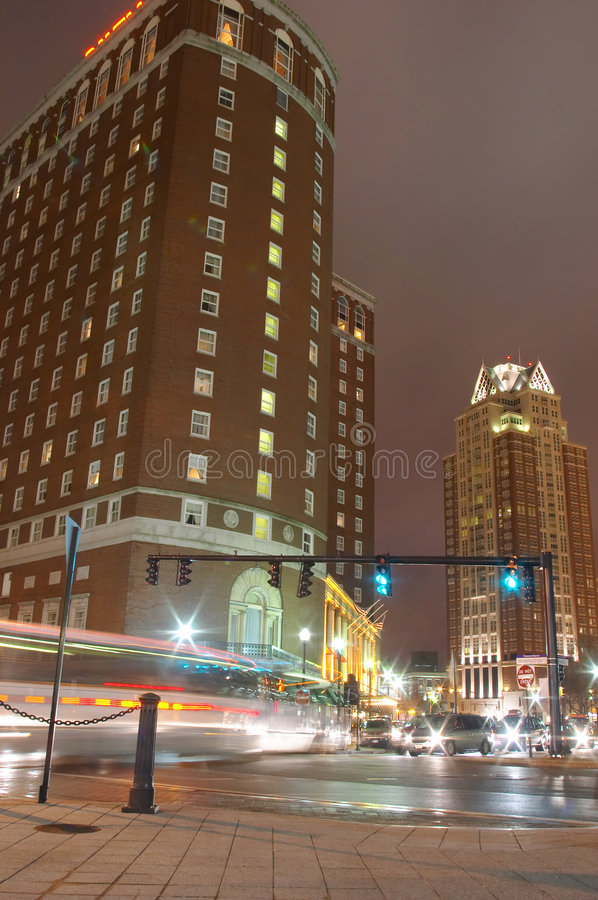 Voorzienigheid, stad de van de binnenstad van Rhode Island bij nacht. stock foto