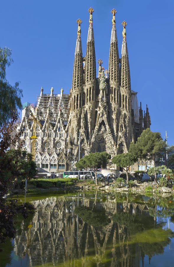Voorzijde Sagrada Familia Barcelona Spanje royalty-vrije stock foto