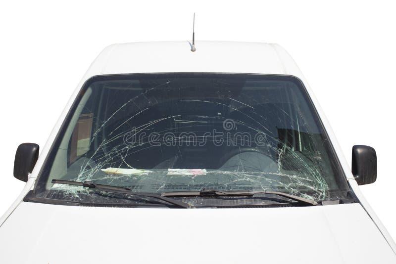 Voorzijde van auto met gebroken voorruit royalty-vrije stock foto's