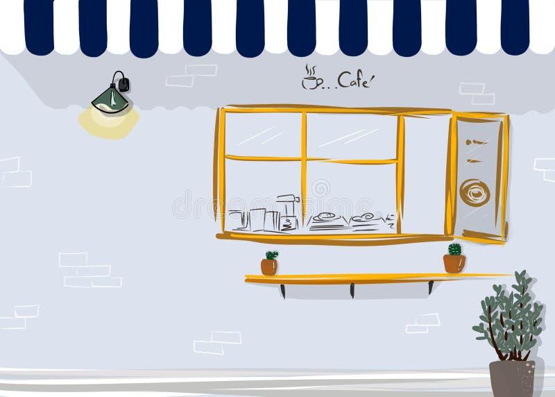 Voorzijde van de illustratie van de koffiewinkel royalty-vrije illustratie