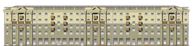 Voorzijde van de klassieke bouw in vector royalty-vrije illustratie