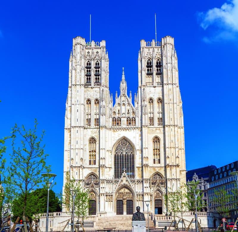 Voorzijde van Gotische Carhedral, Brussel royalty-vrije stock afbeelding