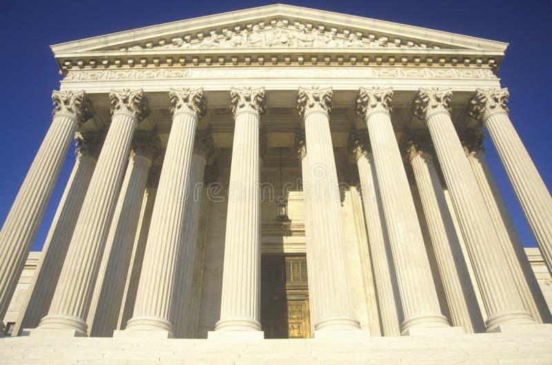 Voorzijde van het het Hooggerechtshofgebouw van Verenigde Staten, Washington, D C stock afbeelding