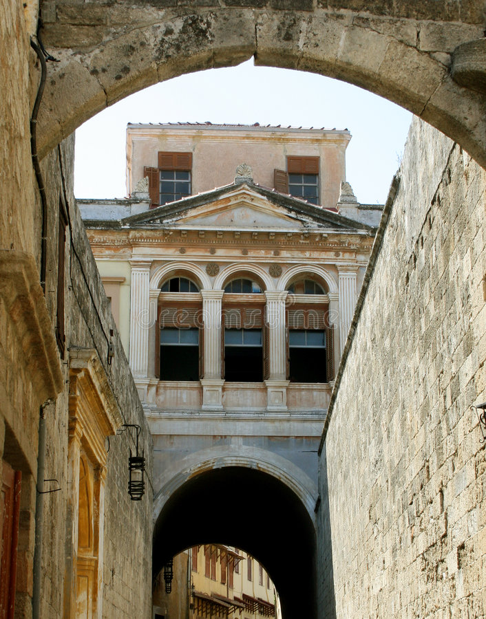 Voorzijde van het inbouwen van Rhodos royalty-vrije stock afbeeldingen