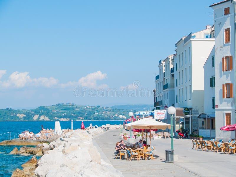 Voorzijde van het overzees, Piran, Slovenië, Europa stock afbeeldingen