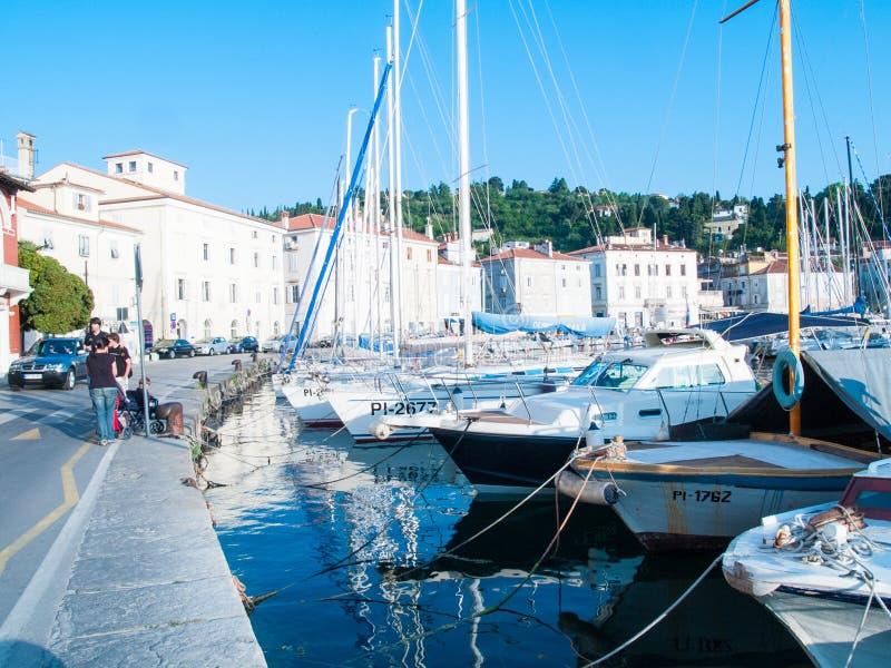Voorzijde van het overzees, Piran, Slovenië, Europa royalty-vrije stock fotografie