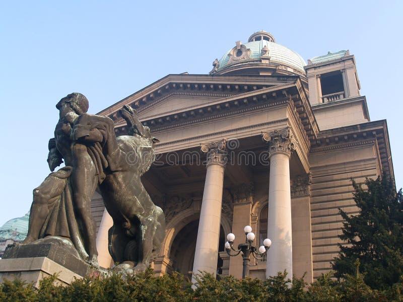 Voorzijde van het Servische Parlement royalty-vrije stock foto's