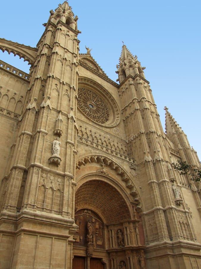Voorzijde van kathedraal in Palma, Spanje royalty-vrije stock fotografie