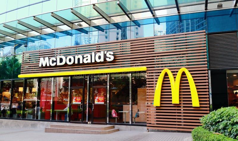 Voorzijde van McDonalds stock foto's