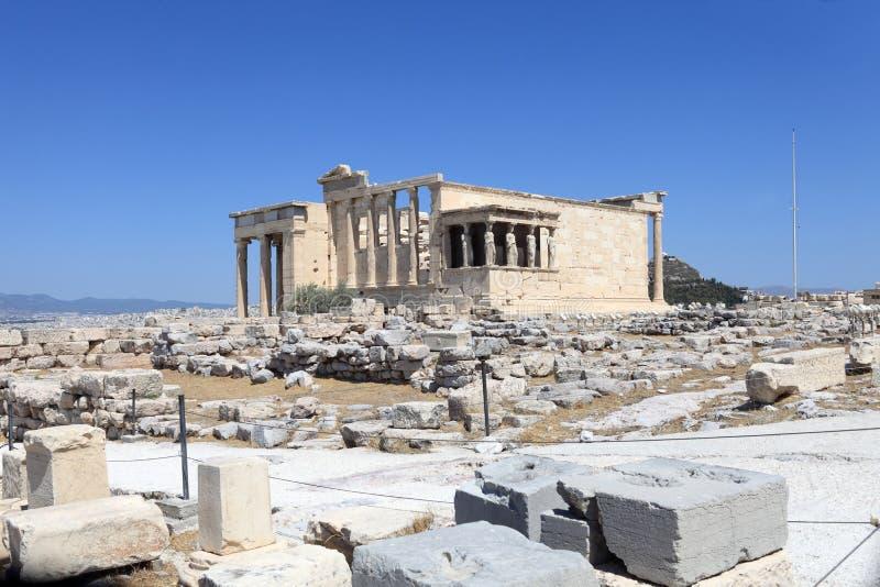 Voorzijde van oude tempel Erechtheum royalty-vrije stock afbeeldingen