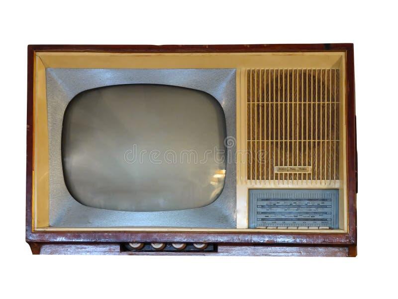 Voorzijde van uitstekend oud televisietoestel over wit stock foto's