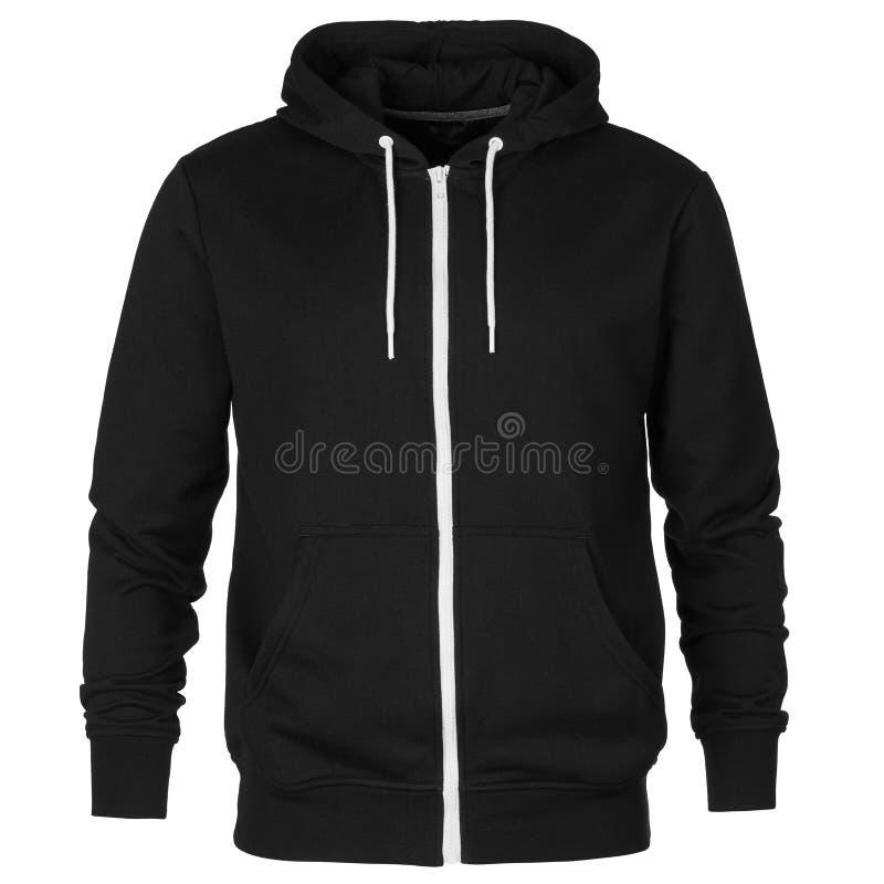 Voorzijde van zwart sweatshirt met kap royalty-vrije stock foto