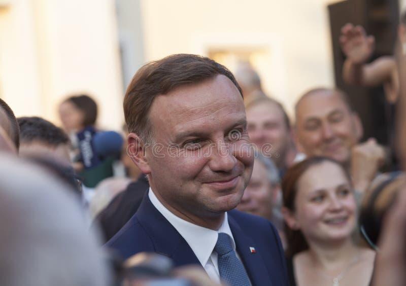 Voorzitter van Pools Andrzej Duda in Dabrowa Tarnowska stock foto