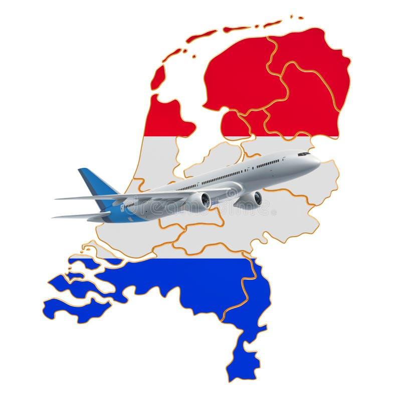 Voos aos Países Baixos, conceito do curso rendi??o 3d ilustração royalty free