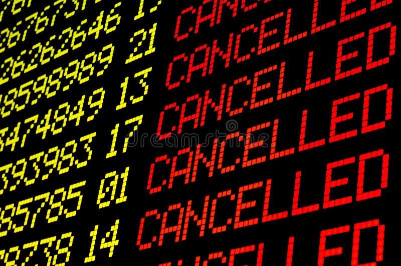 Voos cancelados na placa do aeroporto imagem de stock