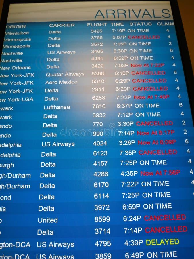 Voos cancelados -- O frio polar do redemoinho do inverno 2014 cancela voos em todo o país imagem de stock