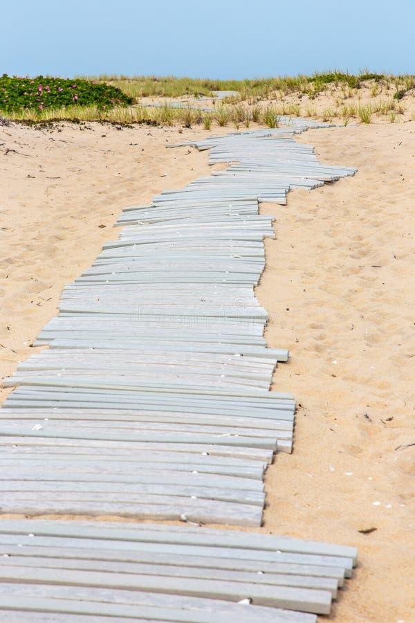 Vorübergehender hölzerner Plastikgehweg über Sand auf Martha's Vineyard, Massachusetts stockfoto