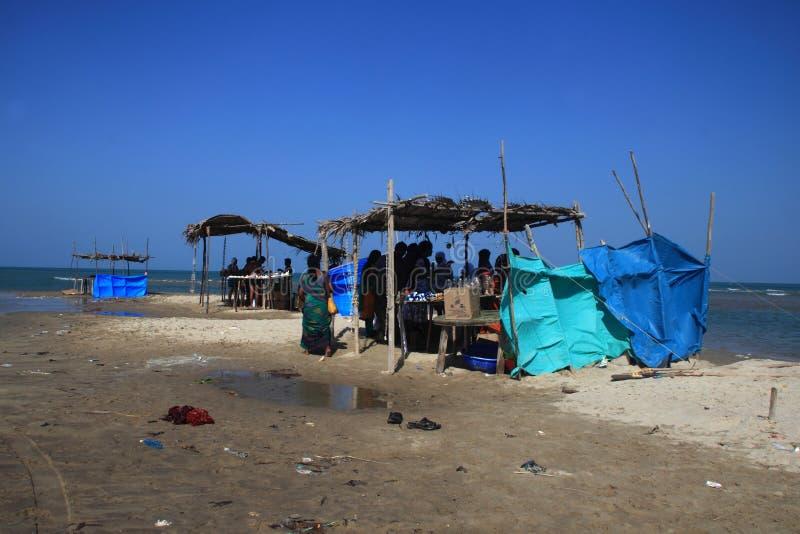 Vorübergehender Tee kauft durch die Küste in Dhanushkodi, Tamil Nadu, Indien stockbilder