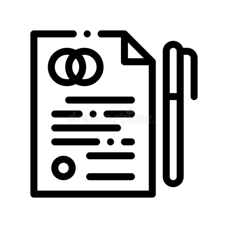 Vor-Heirats- Vereinbarungs-Zeichen-dünne Linie Vektor-Ikone lizenzfreie abbildung