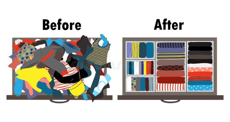 Vor und nach dem Aufräumen der Kindergarderobe im Fach Unordentliche Kleidung und freundlich vereinbarte Kleidung in den Stapel stock abbildung