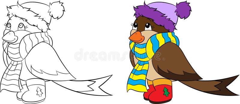 Vor und nach Illustration eines Winterspatzen, -kontur und -farbe, für das Malbuch der Kinder oder Weihnachtskarte stock abbildung