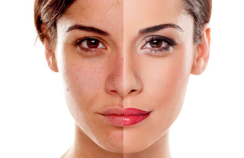 Vor und nach Make-up stockfoto